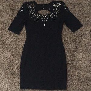 Open back black mini dress